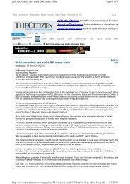Strict bio-safety law stalls GM maize trials Page 1 of 3 Strict bio ...