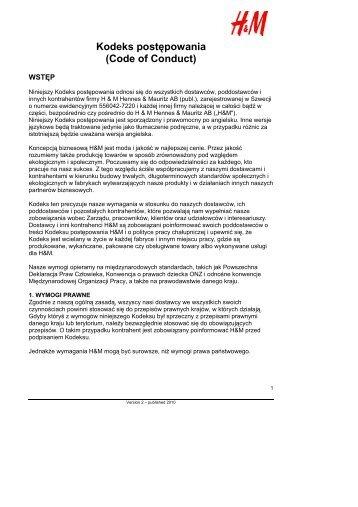 Kodeks postępowania (Code of Conduct) - About H&M