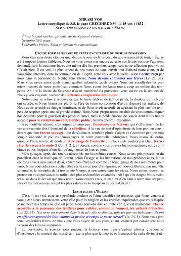 MIRARI VOS Lettre encyclique de S.S. le pape ... - Virgo-Maria.org