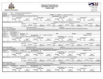 Categorías Programáticas y Resultados de Producción Gestión 2008
