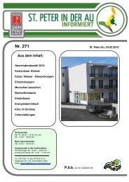 Infoblatt Nr. 271 vom 24.02.2010 - in St. Peter in der Au