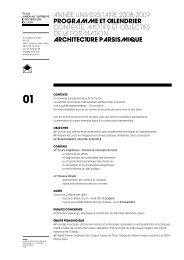 ANNÉE UNIVERSITAIRE 2008-2009 PROGRAMME Et clEndRiER ...