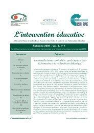 Vol. 4 no 1 - Centre de recherche sur l'intervention éducative (CRIE)