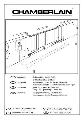 anleitungen drehtorantrieb hc300 hc400 chamberlain. Black Bedroom Furniture Sets. Home Design Ideas