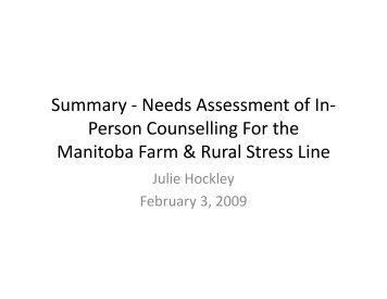 Needs Assessment of In - Manitoba Farm & Rural Support Servic