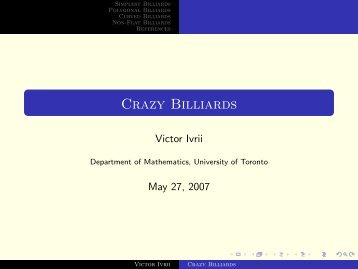 Crazy Billiards - Victor Ivrii - University of Toronto