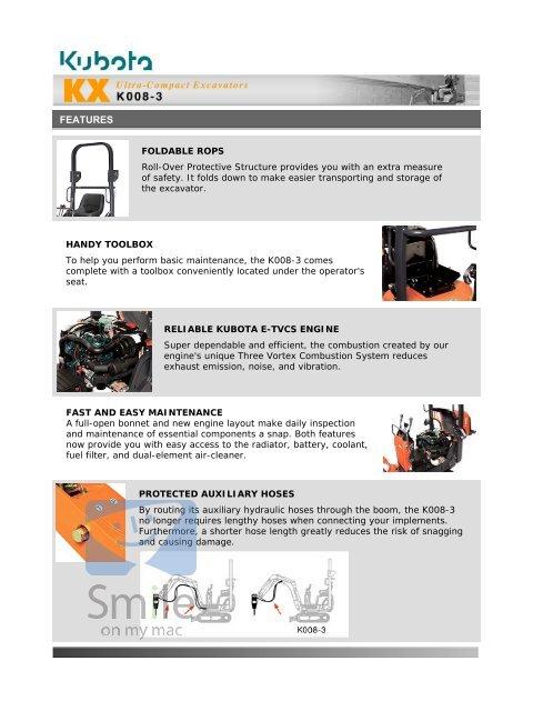 Kubota Ultra Compact Excavators KX Series K008-3 Features