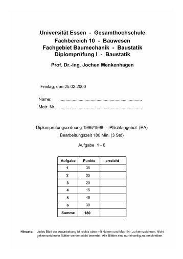Universität Essen - Gesamthochschule Fachbereich 10 - Bauwesen ...