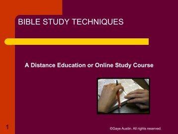 BIBLE STUDY TECHNIQUES