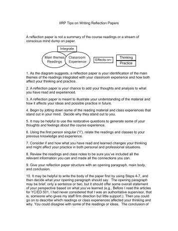 "reflective paper ae"" note iirp tips on writing reflection papers a reflection paper is not a"