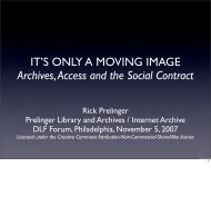 IT'S ONLY A MOVING IMAGE Archives, Access and the Social Contract ...