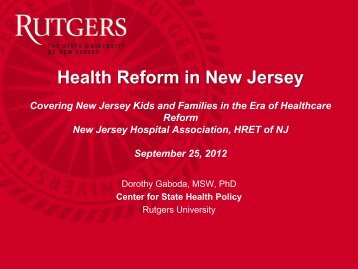 9580 - Center for State Health Policy, Rutgers University