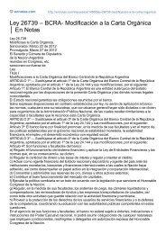 Ley 26739 – BCRA- Modificación a la Carta Orgánica En Notas