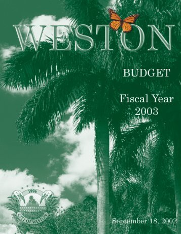 Budget 2002/2003 - City of Weston