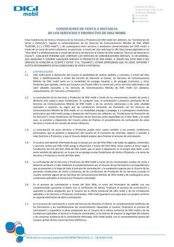 CONDICIONES DE VENTA A DISTANCIA DE LOS ... - Digi Mobil