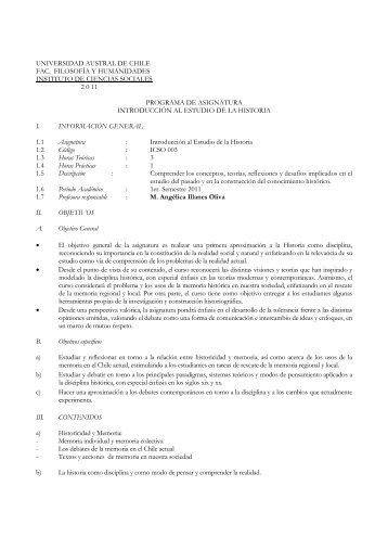 Introducción al estudio de la Historia - Facultad de Filosofía y ...