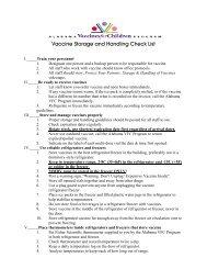 Vaccine Storage and Handling Check List