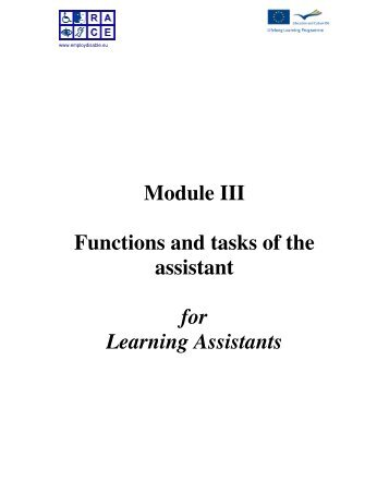 Functions and tasks; Module 3 - Supported employment PWD ...