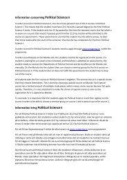 Information concerning Political ScienceII Information kring Political ...