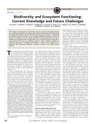 Biodiversity and Ecosystem Functioning: Current Knowledge - Science