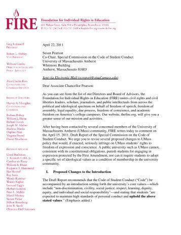 FIRE Letter to University of Massachusetts Amherst, April 22, 2011