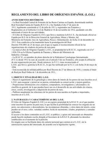 reglamento del libro de orígenes español (loe) - Adiestrador canino