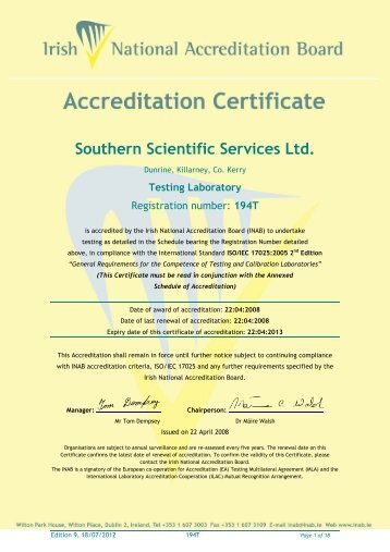 Scope of Accreditation Southern Scientific Services Ltd. - INAB