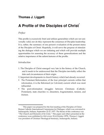"""A Profile of the Disciples of Christ"" by T.J. Liggett - Christian Church ..."