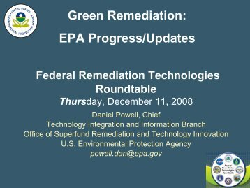 Green Remediation - Federal Remediation Technologies Roundtable