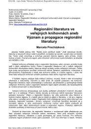 Regionální literatura ve veřejných knihovnách aneb Význam a ...