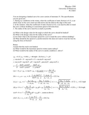 Physics 1301 - University of Minnesota