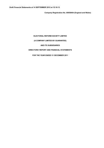 Draft Financial Statements at 14 SEPTEMBER 2012 at 15:16:13 ...