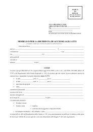 Istanza di accesso per richiesta atti - Regione Lazio