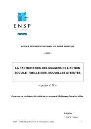 la participation des usagers de l'action sociale : vieille idee ...