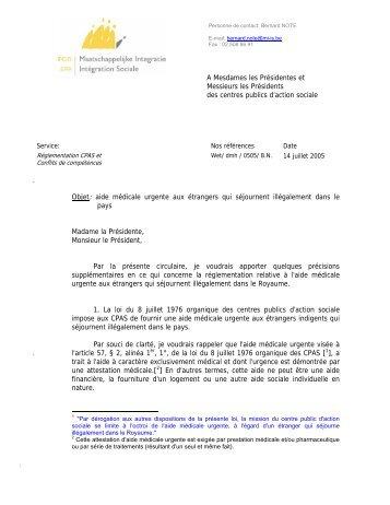Circulaire du SPP-IS du 14/07/2005 - Medimmigrant