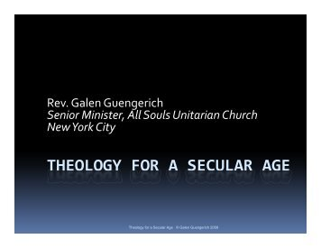 Theology for a Secular Age Presentation