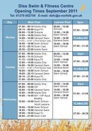 Diss Swim & Fitness Centre opening times, September 2011 [PDF]