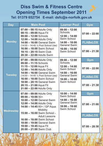 Diss Swim & Fitness Centre opening times, September 2011 [PDF]