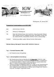 8. Januar 2007 - Protokoll der Vorstandssitzung - Weldergoven
