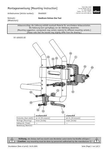 Montageanweisung [mounting instruction] - Invacare