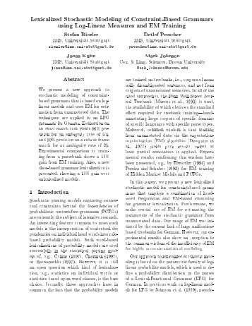 Lexicalized Stochastic Modeling of Constraint-Based Grammars ...