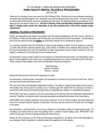 park facility rental policies & procedures - City of Downey