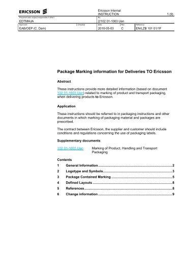 1102 01 1003 Uen Package Marking Information For Ericsson