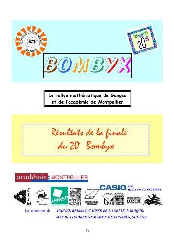 Classement des finalistes - Rallye Bombyx