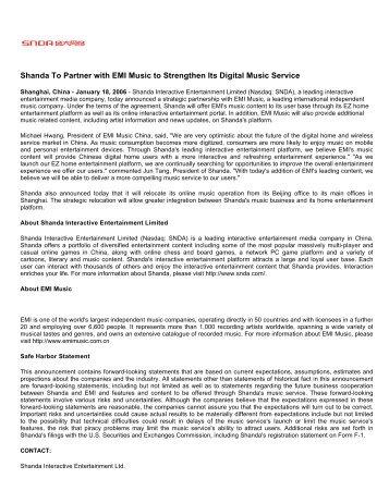 Shanda To Partner with EMI Music to Strengthen ... - Shareholder.com