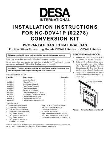 installation instructions for nc-ddv41p (02278) conversion kit - Desa