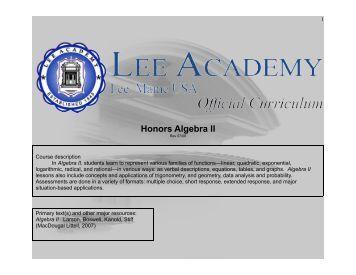 Honors Algebra II - Lee Academy