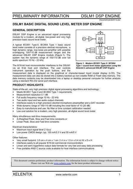 preliminary information dslm1 dsp engine xelentix - nl3prc
