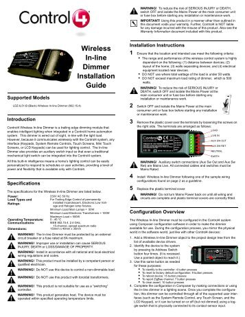 Wireless puck dimmer and switch module installation guide wireless in line dimmer installation guide control4 asfbconference2016 Images