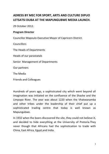 ADRESS BY MEC FOR SPORT pdf - Limpopo Department of Sport